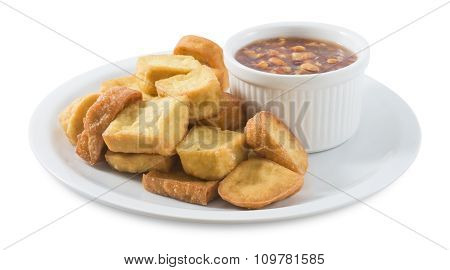 Fried Tofu Served With Sweet Sauce On White Background