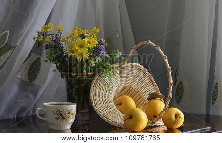 Apples, Wattled Basket And Spring Bouquet