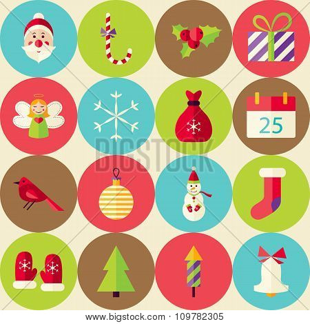Beige Vector Flat Merry Christmas Seamless Pattern Set With Circles
