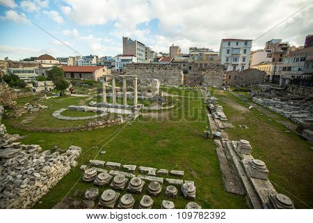 ATHENS, GREECE - CIRCA APR, 2015: View of the ancient theater under Acropolis of Greek capital Athens.