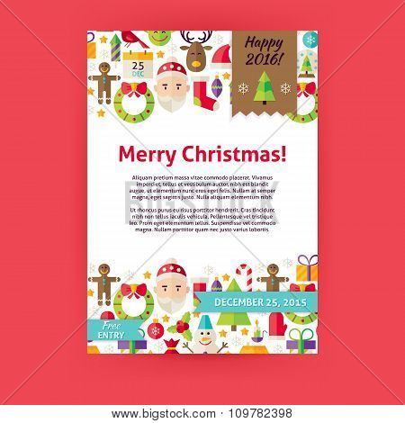 Merry Christmas Holiday Vector Invitation Template Flyer
