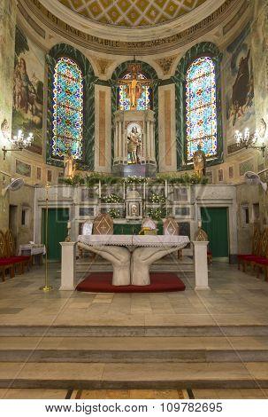 Catholic Altar Of San Sebastian Church