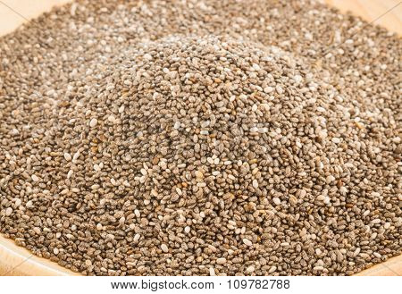 Nutritious Chia Seeds On A Wooden Plate