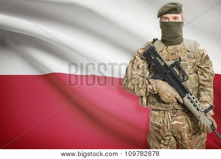 Soldier Holding Machine Gun With Flag On Background Series - Poland