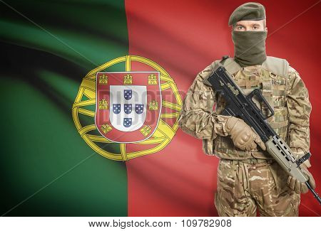 Soldier Holding Machine Gun With Flag On Background Series - Portugal
