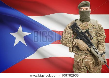 Soldier Holding Machine Gun With Flag On Background Series - Puerto Rico