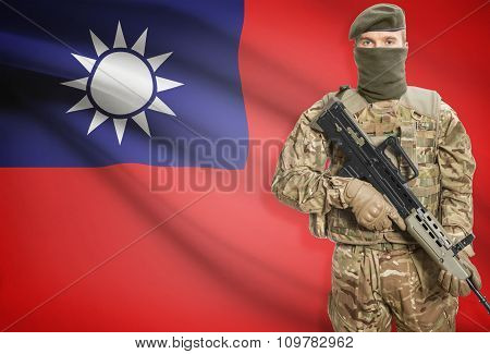 Soldier Holding Machine Gun With Flag On Background Series - Taiwan