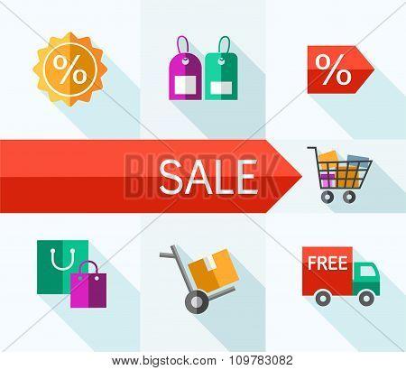 Sale, Illustration, Color, Fl...