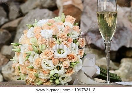 Wedding Bouquet And Champagne Glass