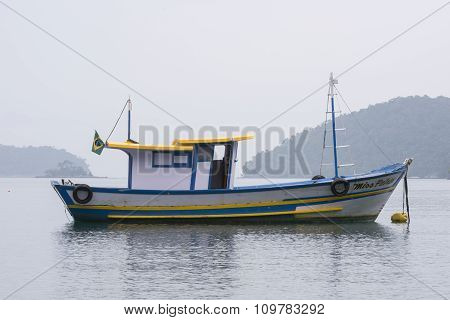Brazilian Fishing Boat Moored At Buoy
