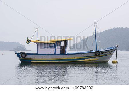 Brazilian Fishing Boat Moored At Buoy