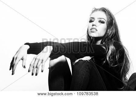 Stylish Woman In Studio