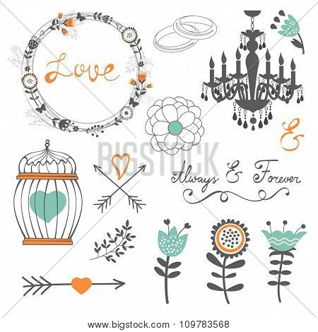 Romantic collection with flowers, wreaths and other graphic elements