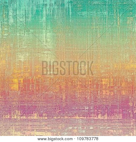 Old designed texture as abstract grunge background. With different color patterns: yellow (beige); green; pink; cyan