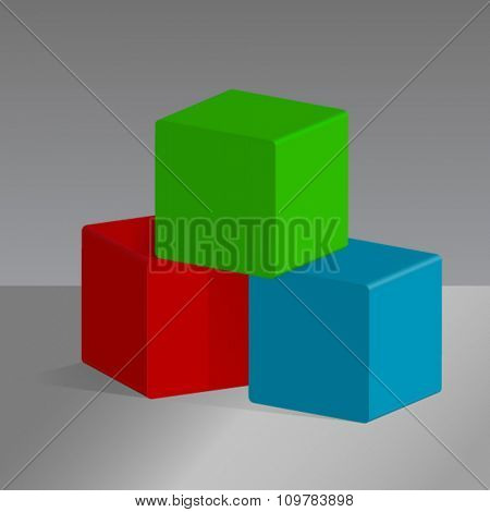 Abstract red, green and blue cubes vector background.