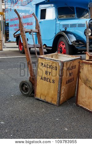 London, UK - October 31, 2015:  Regent street motor show - exhibition of Abels Old removal company. 31st October 2015 LONDON.UK