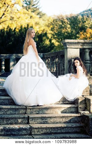 Bride With Girl On Stairs