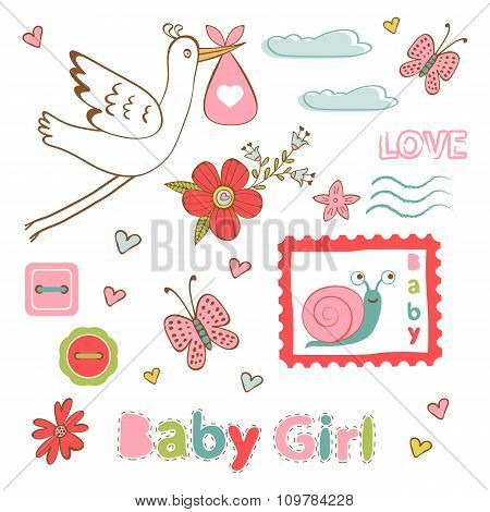 Colorful collection of baby girlannouncement graphic elements