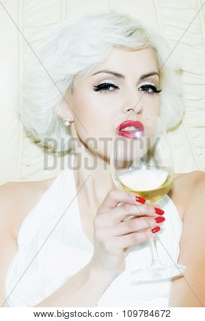 Sexy Blond With Wine