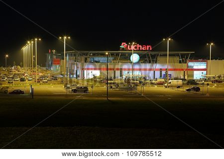 Budapest, HUNGARY - November 28: View of an Auchan supermarket, November 28th 2015. Auchan is a French retail group present in 12 countries.