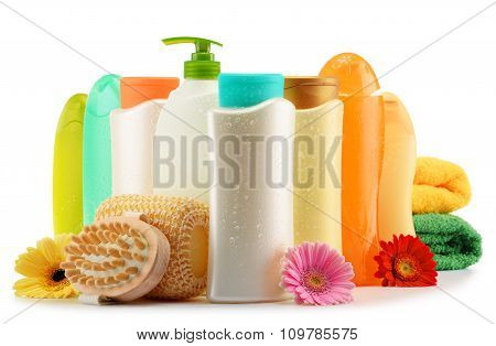 Plastic Bottles Of Body Care And Beauty Products Over White