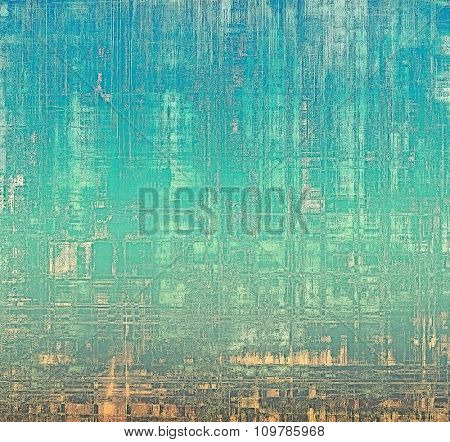 Old grunge background with delicate abstract texture and different color patterns: yellow (beige); brown; blue; cyan
