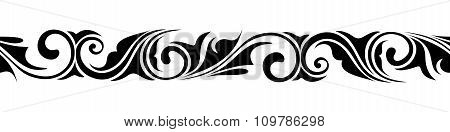 Calligraphic horizontal seamless vignette. Vector illustration.