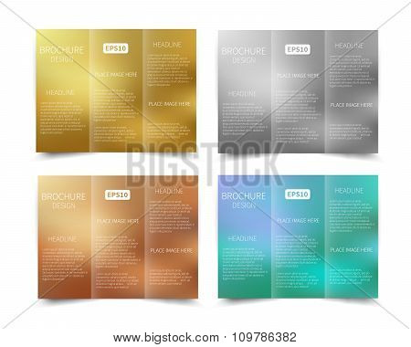 Set of vector tri-fold brochure design templat