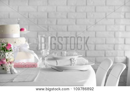 Beautiful decorated table for wedding celebration in restaurant