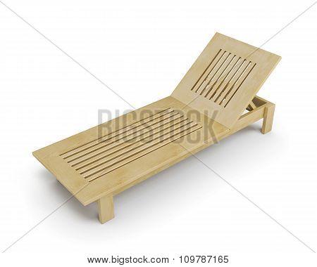 Wooden Deck Chair. 3D Illustration.