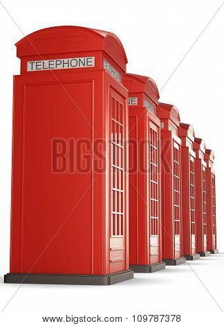 Red Telephone Boxes In A Row