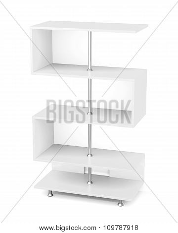White Rack With Chrome Pipe. 3D.
