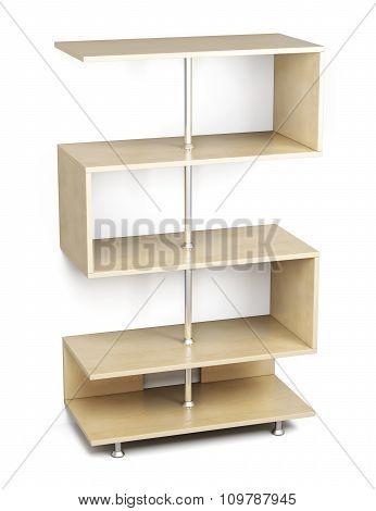 Wooden Shelves On A Chrome Rack. 3D