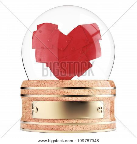 Snow globe with abstract heart inside
