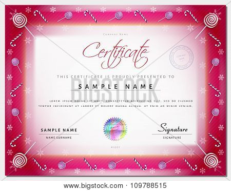 Christmas Certificate Template With Border As Xmas Happy New Year Elements In Vector