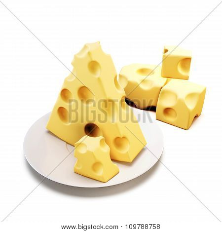 Piece Of Cheese On A Saucer Isolated On White Background. 3D.