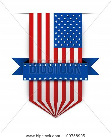 Color Ribbon In Stule American Flag.