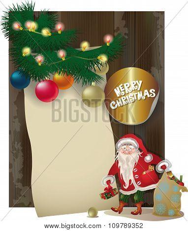Santa Claus Character, Vintage Wood  Board