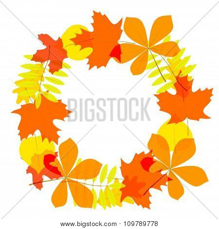 Autumn Leaves Wreath, In Vector