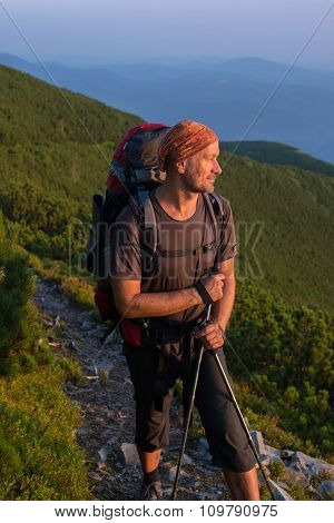 Hiker On The Trail