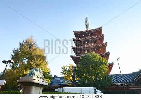 Five Storey Pagoda Of Senso-ji Temple In Asakusa