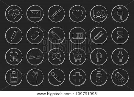 Sketch chalk medical linear icons set