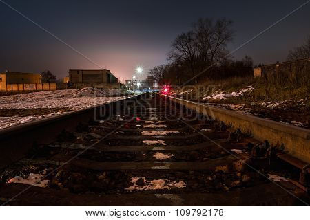 Night view of the railroad