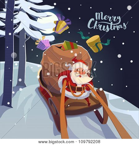 Santa Claus in a sleigh with presents in a hurry for the holiday. Christmas greeting card poster.