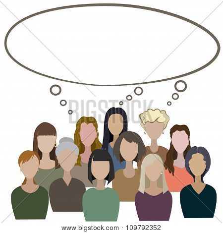 Group Of Women Have A Common Think