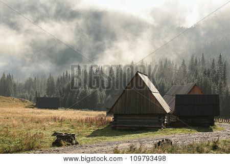Huts in the valley of the Tatra Mountains