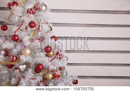 Cozy Home Interior, With Christmas Tree And New Year Decoration