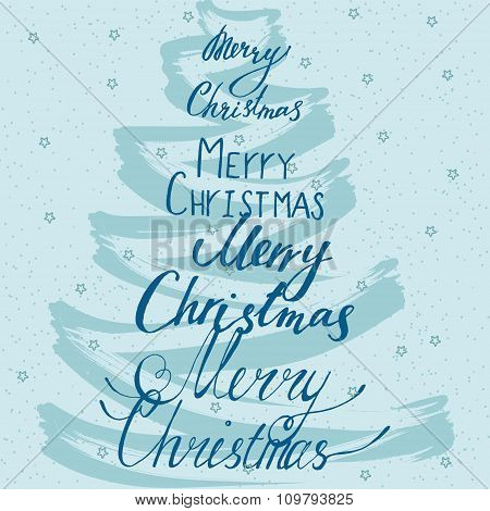 Merry Christmas Calligraphic Card