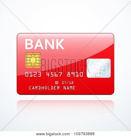 Red bank card icon. Vector illustration eps 10.