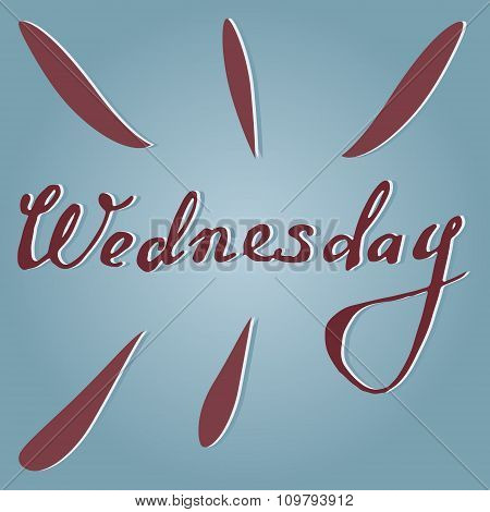 Vector text Wednesday in blue and violet
